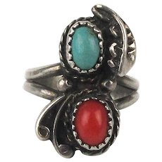 Old Navajo Sterling Silver Coral Turquoise Ring