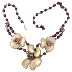 Gorgeous Necklace Mother-of-Pearl Clusters w/ Amethyst Glass Beads