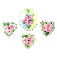 Victorian Porcelain Buttons - Hearts n Flowers - Handpainted Roses