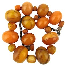 Vintage African Mali Amber Resin Necklace Big African Trade Beads