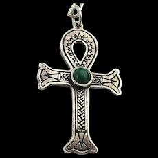 Vintage Sterling Silver Ankh Cross w/ Malachite Necklace LIFE Symbol