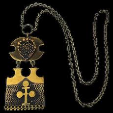 Finnish Pentti Sarpaneva Modernist Bronze Necklace c1960s