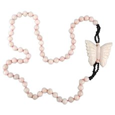Estate Long Angel Skin Coral Necklace w/ Carved Butterfly