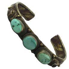 Vintage Mixed Metals Cuff Bracelet w/ Turquoise Stones