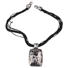 Modernist Simon Sebbag Hammered Sterling Silver Pendant Necklace SSD 925