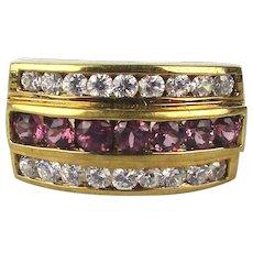 Gilded Sterling Silver Ring 3 Row Crystal Gem Sparkler