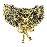 Big Signed Jane Davis Art Nouveau Style Angel Pin Brooch