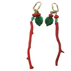 One Long Natural Branch Coral Dangle Earrings for Pierced Ears