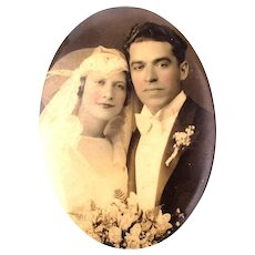 Old 1920s Celluloid Top Wedding Photo Pocket Mirror Romantic Couple