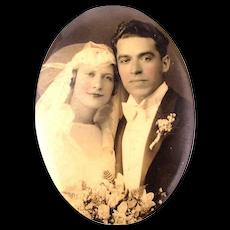 Old 1920s Celluloid Top Wedding Photo Pocket Mirror Romantic Couple