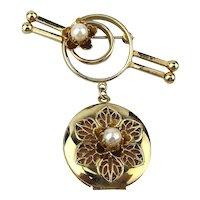 Vintage Pretty Gilt Locket Dangling From a Pretty Gilt Bar Pin