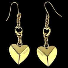 Vintage Signed Moschino Gilt Heart Earrings Pierced