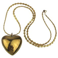 Vintage Big Goldtone Puffy Heart on Nice Long Trifari Chain Necklace