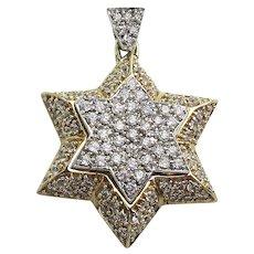 Signed Designer Sterling Silver Faux Diamond Jewish Star of David Pendant