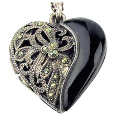 Vintage Sterling Silver Onyx Marcasite Heart Locket Pendant Necklace