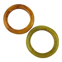 1940s Pair Vintage Bakelite Ring Bands - Two Colors