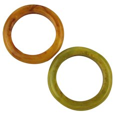 1940s Pair Vintage Bakelite Ring Bands - Two Colors