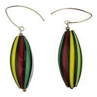 Italian Glass Striped Drop Earrings Sterling Silver Wire Dangles