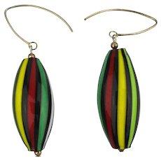 Italian Glass Striped Drop Earrings Sterling Silver Wire Dangles