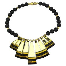 Classic Modernist Laminated Lucite Necklace Mirrored Beads