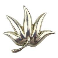 Fine 1985 Tiffany & Co. Sterling Silver Leaf Pin Brooch