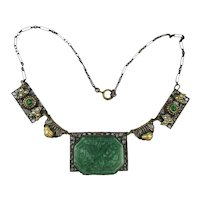Old Czech Necklace Carved Art Glass w/ Faux Pearls Brass Filigree