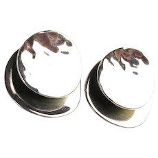 Mexican Sterling Silver Hammered Double Decker Earrings Pierced