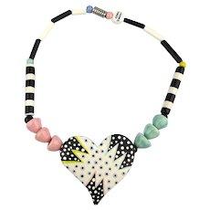 Vintage RUBY Z Candace Loheed Ceramic Bead Necklace w/ Big Heart