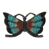 Old Navajo Butterfly Ring Chip Inlay Sterling Silver