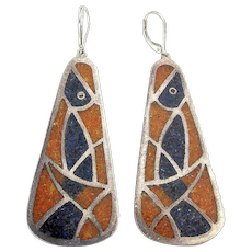 Unique Old Mexican Signed Dangle Earrings Sterling w/ See-Through Chip Inlay