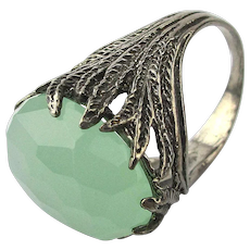Vintage Large Green Quartz Faceted Stone in Sterling Silver