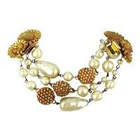 Elaborate Goldtone Faux Pearls Bracelet Sunflowers Clasp