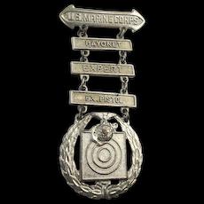 Early 1930s USMC Marksman Badge Medal Bayonet Pistol Marines