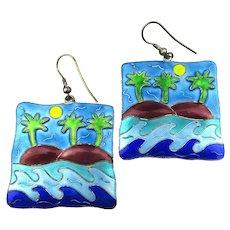 Sterling Silver Colorful Enamel Earrings - Tropical Scene Palm Trees Waves