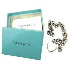 Vintage Tiffany & Co. Sterling Silver Heart Charm Bracelet