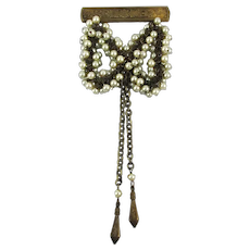 Old Pin Brooch Cascade of Faux Pearls Chain Dangles