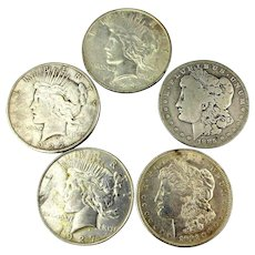 Old Money 5 Silver Morgan Peace Dollar Coins