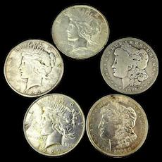 Old Money 5 Silver Morgan Peace Dollar Coins