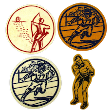 1940s Team Sport Felt Patches - Football Archery Boxing - Unused