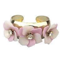 Unusual CORO Pegasus Cuff Bracelet w/ Flowers Rhinestones 1940s