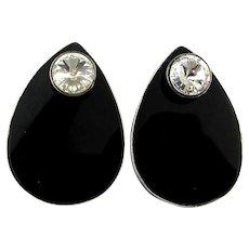 Two Earrings in One - Sterling Silver Black Onyx w/ Faux Diamond