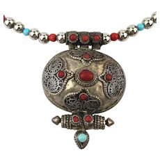 Exotic Vintage Tibetan Gau Silver Necklace w / Coral - Turquoise