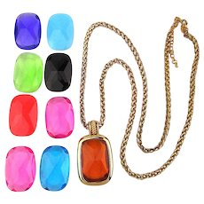 Vintage Joan Rivers Jewel Pendant Necklace in 9 Colors
