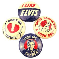 Set of 4 Elvis Presley Tin Litho Gumball Machine Pins 1956 Original