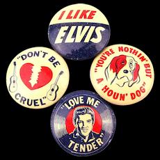 Set of 4 Elvis Presley Tin Litho Gumball Machine Pins 1956 Original