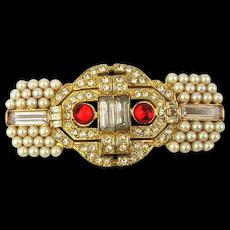 Vintage Weinberg N.Y. Faux Pearl Rhinestone Pin - Big Beauty