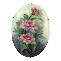 Big Hand-Painted Porcelain Flowers Pin Brooch c1915 Roses