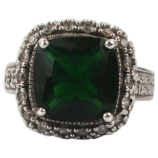 Vintage Sterling Silver Faux Emerald Diamond Ring