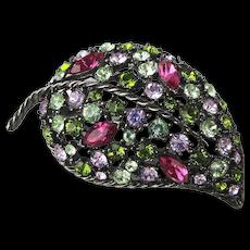 Vintage Graziano Multi Color Rhinestone Pin Brooch