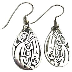 Carved Sterling Silver Earrings Shaman Healer Signed Jean Ferrier